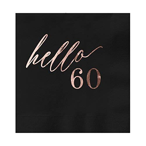 Hello 60 Black Beverage Cocktail Party Napkins
