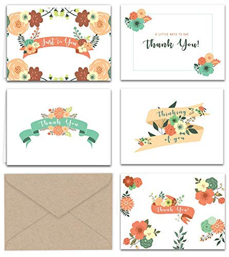 Vintage Floral Banners Thank You and Greeting Notes