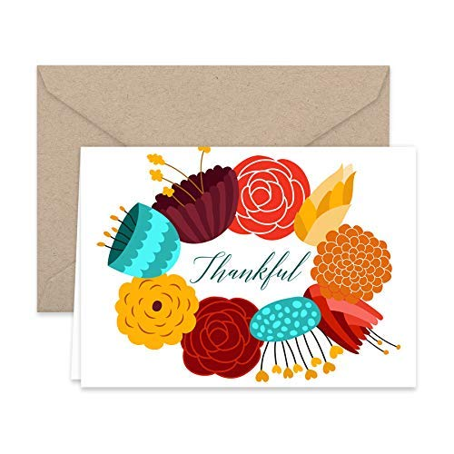 Thankful Floral Wreath Thank You Note Cards