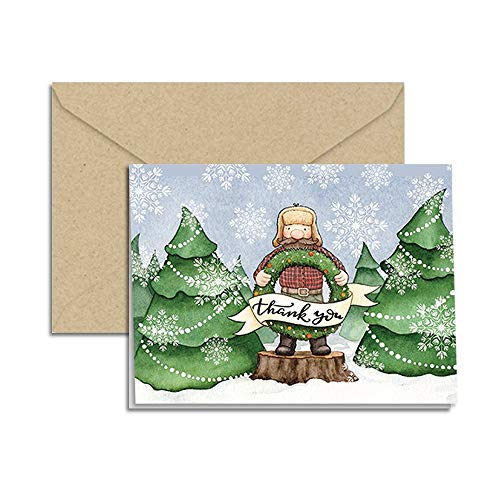 Winter Lumberjack Christmas Holiday Thank You Note Cards