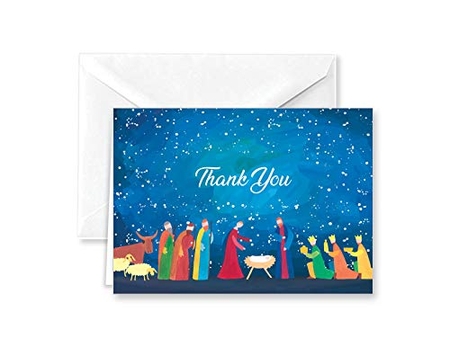 Abstract Nativity Christmas Religious Thank You Note Cards