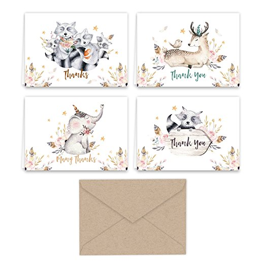 Woodland Animals Thank You Note Cards