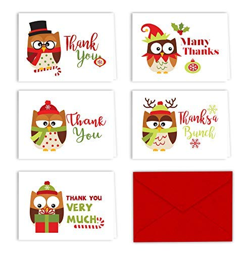 Christmas Owls Holiday Thank You Note Cards