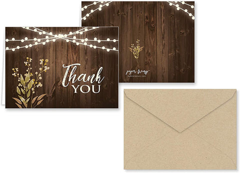 Rustic Wedding Thank You Note Cards
