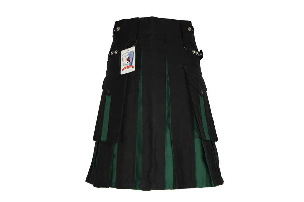 Black Utility Kilt with Green Pleats