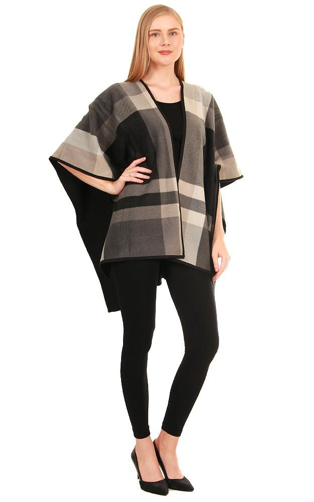 Black Plaid Reversible Ruana