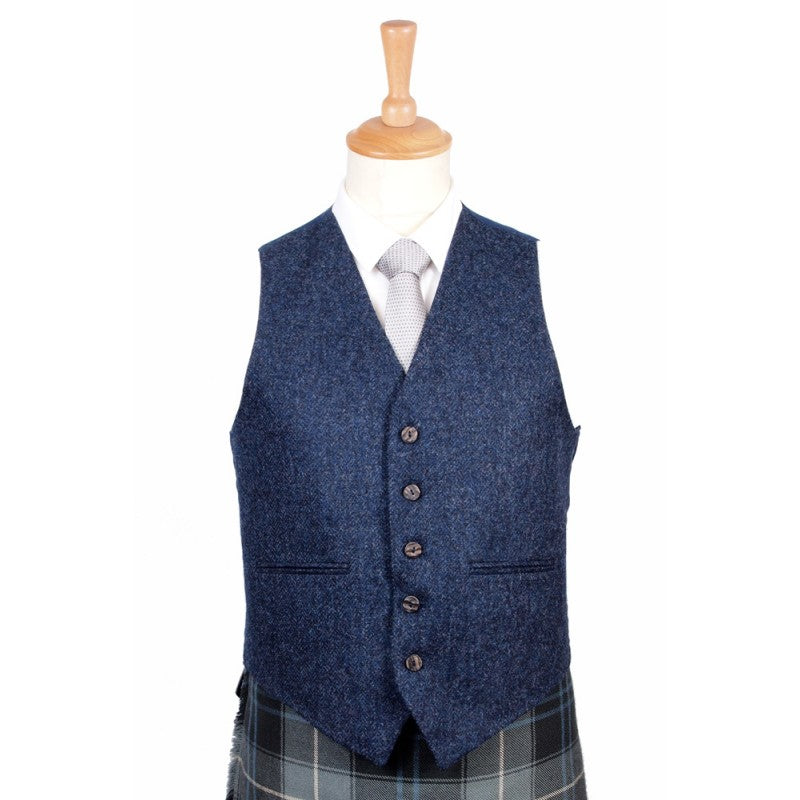 Braemar Tweed Vest in Lomond Blue