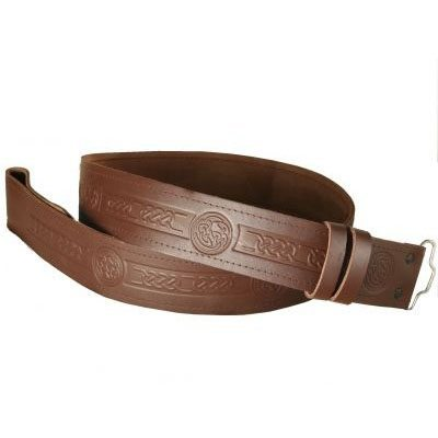 Adjustable Brown Embossed Kilt Belt