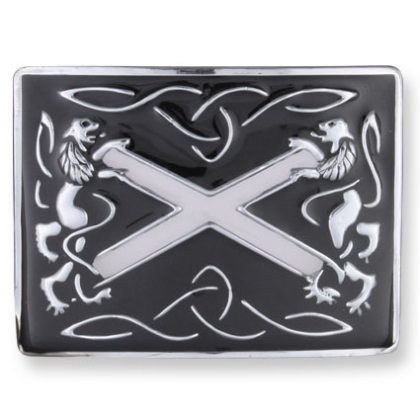 Black Rampant Lion St. Andrews Kilt Belt Buckle