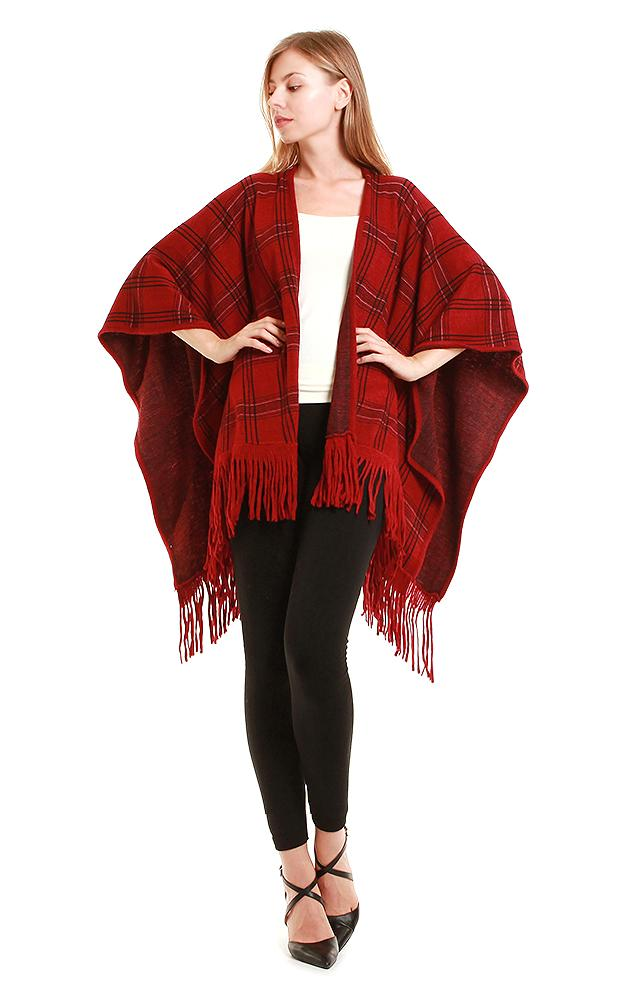 Burgundy Plaid Ruana With Fringe