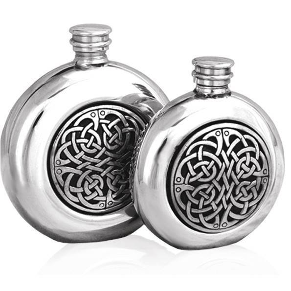 Celtic Knot Badge 6oz Pewter Hip
