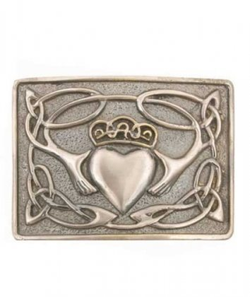 Antiqued Claddagh Kilt Belt Buckle