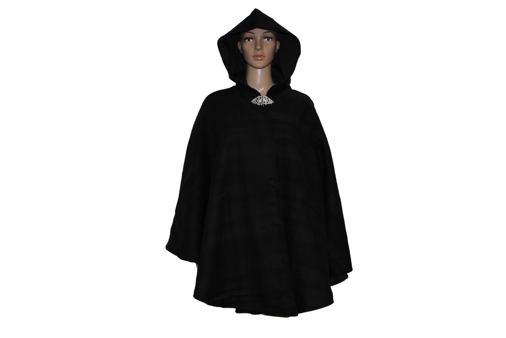 Hooded Tartan Cape With Pockets