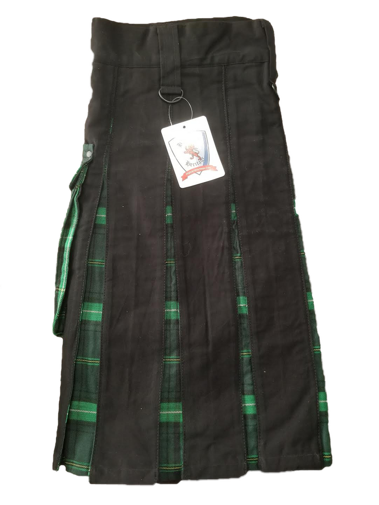 Black Utility Celtic Green Pleats