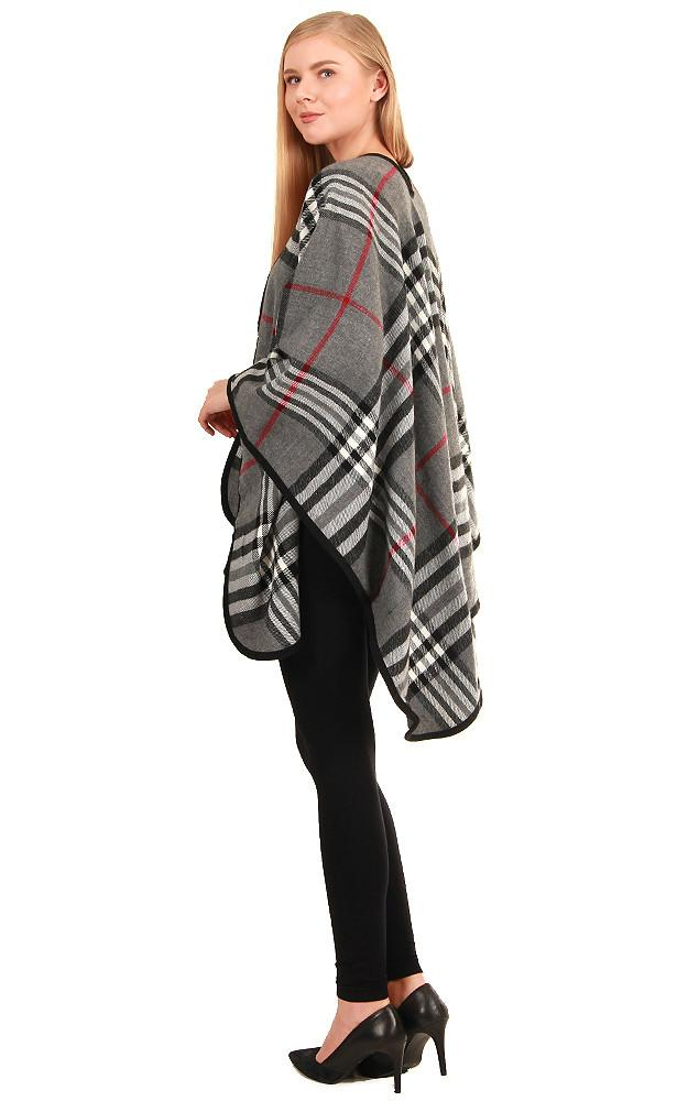 Grey Plaid Checker Ruana