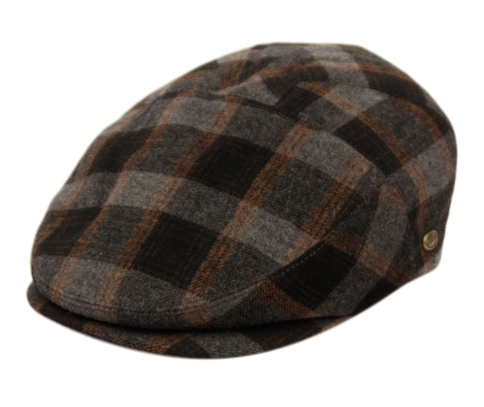 Brushed Wool Checked Cap