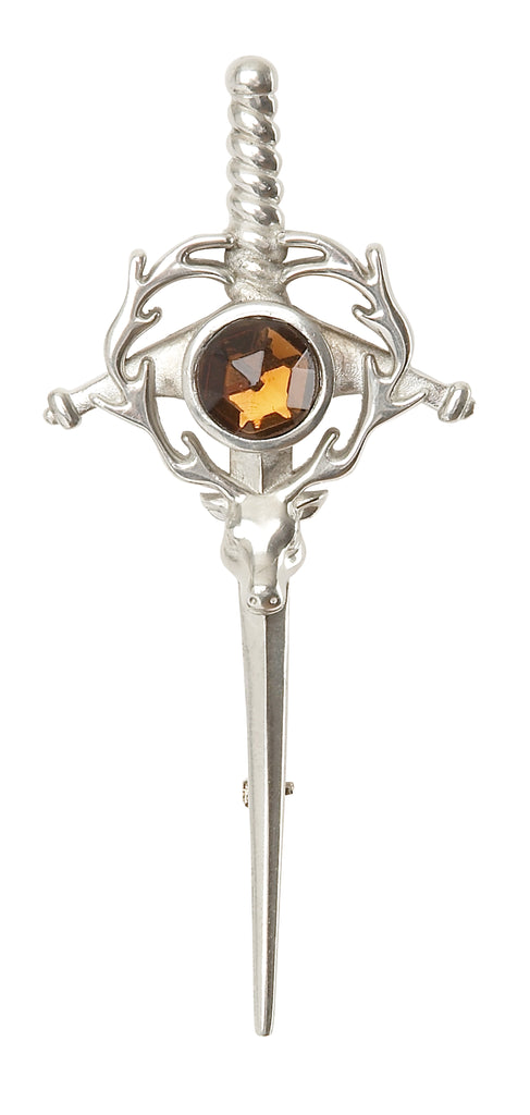 Stag Head Sword With Stone Kilt Pin