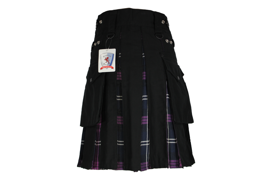Black Utility Kilts Pride of Scotland Tartan Pleats