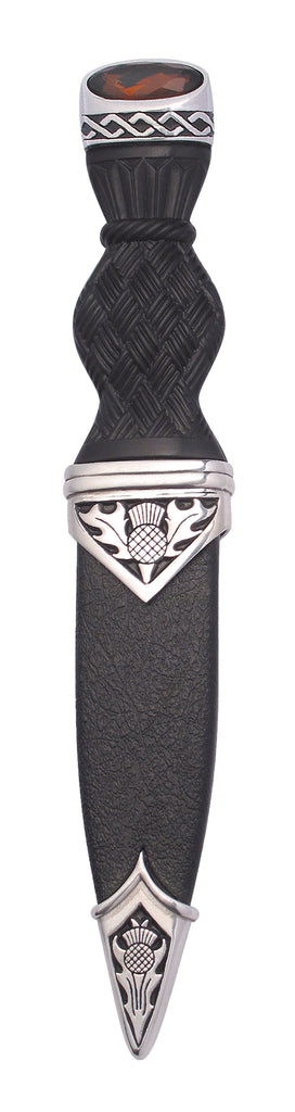 Thistle Polished Sgian Dubh W/Stone Top