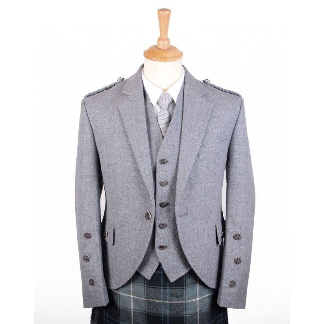 Braemar Tweed Jacket and Vest in Grey Arrochar