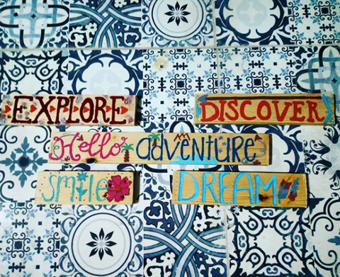 Word inspo 🌠 These painted signs are actually for my husband's hostel in Marrakech, where hopefully they brighten up the day of many backpackers🙏 🗺️ Anyway, I wanted to share them here as an example of recycled art - these leftover bits of wood were destined for the trash before I grabbed them. Some see rubbish, I see a canvas. It's always worth thinking creatively to reduce, reuse, and recycle.