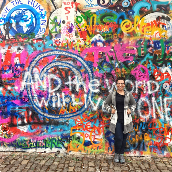 Chelse at the Lennon Wall