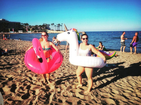 Javea Spain Digital Nomad Girls with Flamingo and Unicorn Floaties