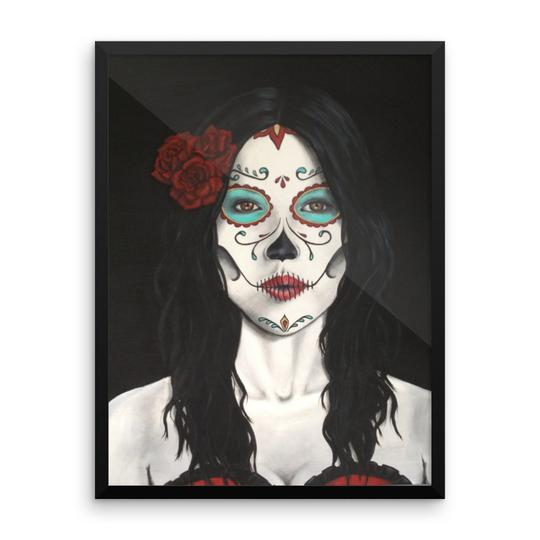 Catrina in a Dia de los Muertos (Day of the Dead) design available in t-sirts, mugs, hoodies, totes, prints, socks, and cell phone cases.