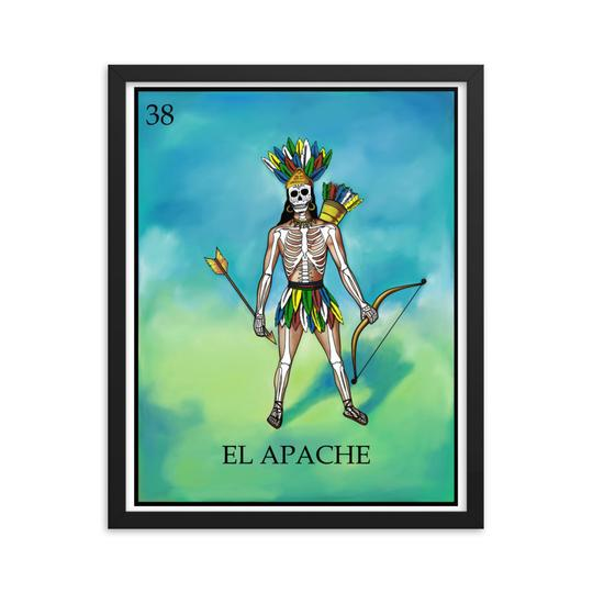 El Apache Loteria day of the dead dia de los muertos skeleton framed print by Pilar Grother