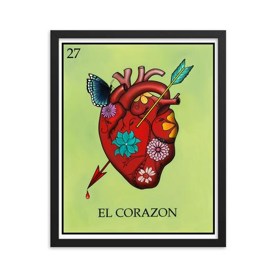 El Corazon Loteria framed print butterfly and flowers by Pilar Grother
