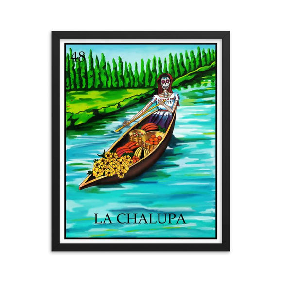 La Chalupa Loteria Day of the dead dia de los muertos framed print by Pilar grother