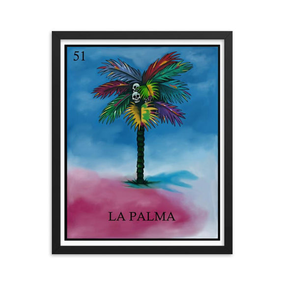 La Palma Palm tree Loteria day of the dead dia de los muertos framed print by Pilar Grother