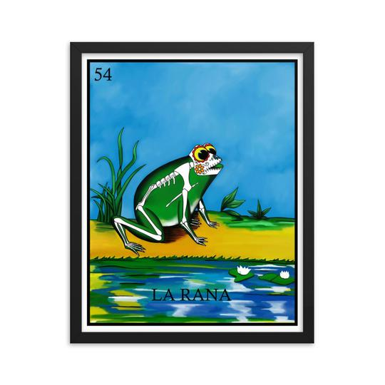 La Rana Loteria framed print day of the dead skeleton frog by Pilar Grother