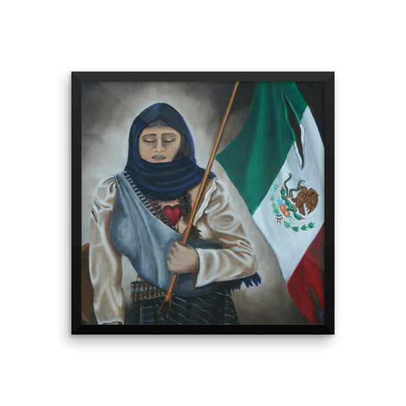 La Soldadera after fighting in the Mexican Revoltion with a torn Mexican flag holding a baby and a rifle in hand. This design is available in t-sirts, mugs, hoodies, totes, prints, socks, and cell phone cases.