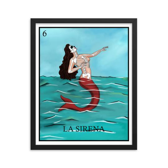 La Sirena mermaid loteria day of the dead skeleton framed print by Pilar Grother