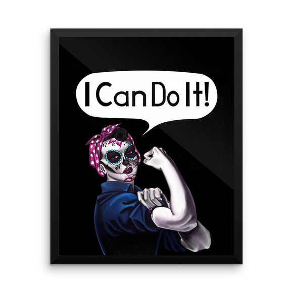 Rosie the Riveter  I Can Do It! in a Dia de los Muertos (Day of the Dead) design available in t-sirts, mugs, hoodies, totes, prints, socks, and cell phone cases. Perfect for those battling cancer or other health issues or just fighting for something.