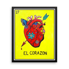 El Corazon Loteria in day of the dead design by Pilar Grother