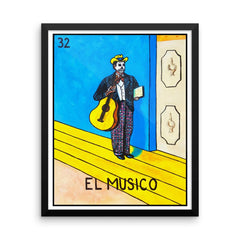 El Musico Loteria in day of the dead design by Pilar Grother