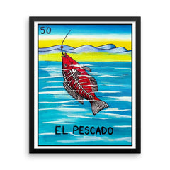 El Pescado Loteria in day of the dead design by Pilar Grother