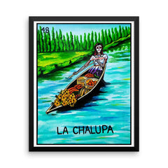 La Chalupa Loteria in day of the dead design by Pilar Grother