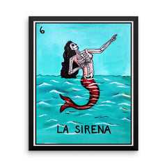 La Sirena Loteria in day of the dead design by Pilar Grother