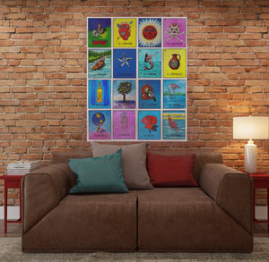 Pilar Grother re-designed Loteria prints in Dia de los Muertos (Day of the Dead) design. 20 prints on a wall organized as a Loteria playing board.