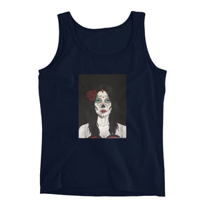 Catrina Dia de los Muertos (Day of the Dead) Women's navy tank by Pilar Grother
