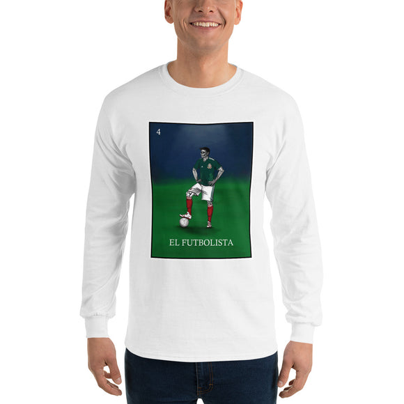 El Futbolista Loteria Mexico Men's Long Sleeve T-Shirt