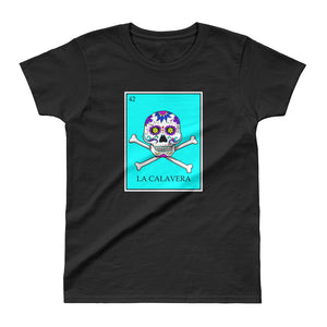 La Calavera Loteria Pop Teal Women's T-shirt