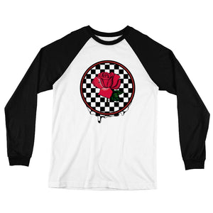 Rosa Dripping Checker Board Men's Long Sleeve Baseball T-Shirt