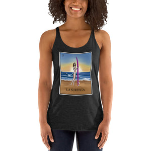 La surfista surfer girl black racerback tank by pilar grother