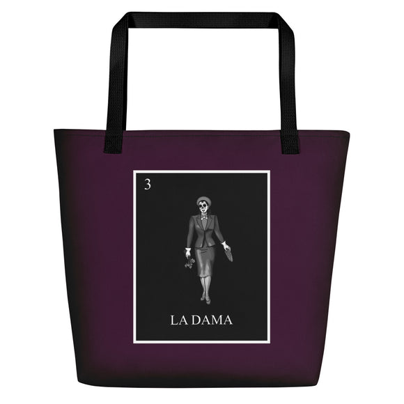 La Dama Loteria B&W Beach Bag