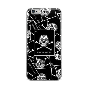 La Calavera Loteria B&W All-over iPhone Case