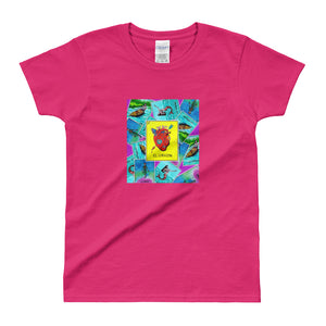 Las Damas Corazon Loteria All-Over Womens  T-shirt